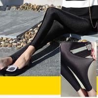 Wholesale Shiny Pants Women Tight - Women Leggings elastic high waist tight shiny pants