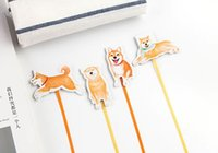 Wholesale Ribbon Bookmarks - Kawaii Cute Shiba Lovely Dog Magnetic Bookmarks With Ribbon Books Marker of Page Stationery Office Supply Kids Rewarding