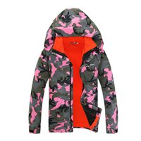 Wholesale Sport Snowboard Jackets - Wholesale- Outdoor Winter Camouflage Snowboard Jacket Unisex Women Sports Coat Windbreaker Waterproof Men Ski Suit Sports and sportswear