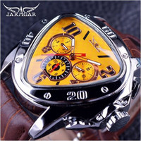 Wholesale jaragar stainless steel mechanical watch - Jaragar Sport Fashion Design Geometric Triangle Case Brown Leather Strap 3 Dial Men Watch Top Brand Luxury Automatic Watch Clock