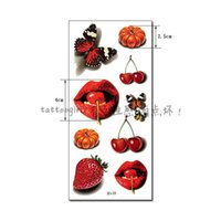 Wholesale Party Eye Tatoo Stickers - Wholesale-1piece new 3d-33 3D Colorful Cherry lips Pattern Temporary tattoo Waterproof back arm paint tatoo sticker women sexy girl party