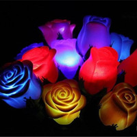 Wholesale Romantic Love Light - Many Colors PVC Rose Shaped LED Light Rose Flower Night Light Romantic Love Light (Color Randomly)