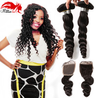 Virgin Malaysian Curly Hair Loose Curly 3 Bundles mit 4x4 Lace Closure Loose Wave Günstige Weave Online DHgate