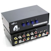 4 Way Composite 3 RCA AV Switch Audio Video Switcher Selector Box 4 Em 1 Out switcher para HDTV LCD Projector STB DVD