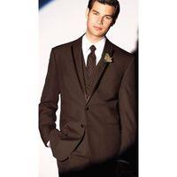 chaqueta de color marrón caliente al por mayor-Hecho a la medida Hot New 3 Piece Brown Men Suit Groom Wedding Formal Tuxedos Suit Men Trajes (Jacket + Pants + Vest) G522