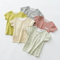 Wholesale Kids Plain Top - New Summer plain color Kids T-shirts Boy Girl clothing Child short sleeve tops for summer children clothes