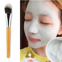 bambu tutamaklı fırçalar toptan satış-Toptan Yeni Makyaj Fırçalar Kadın Bambu Kolu Yüz Maskesi Fırça Makyaj Fırça Makyaj Yüz Fırçalar