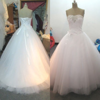 Wholesale strapless top wedding gowns for sale - Group buy Stunning Cheap Ball Gown Wedding Dress Exquisite Beads Sequins Crystals Ruched Top Corset Handmade Flower Strapless Bridal Gowns