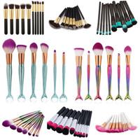 kit de regalo de maquillaje al por mayor-Pinceles de maquillaje Set Oval Make Up Brush Kit Sirena de colores cepillos de la manija Pro Foundation Powder Cream Blush Fish Tail Brush Kit + Gift
