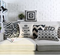 Wholesale Zebra Print Brown - Free shipping geometric zigzags chevrons checked plaid squares plus crown keep calm Carry on zebra pattern Cushion Cover throw pillow Case