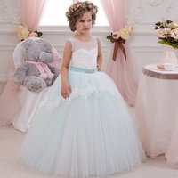 Wholesale Green Ball Gown Wedding Dresses - Light Green Flower Girls Dresses for Party and Wedding Bow Sash Sleeveless Patchwork O Neck Ball Gown Princess Pageant Dress