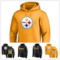 Wholesale Sweatshirt Men Lines - Free Shipping Men's Sweatshirts Pittsburgh Pro Line Gold Primary Logo Hoodie Sideline Circuit Pullover Performance Wordmark Essential