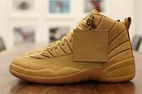 chaussures de sport achat en gros de-Dropshipping 12s De Blé Bordeaux PSNY Le Maître Noir De La Laine De La Grippe De Jeu Baskets De Basket-ball 12 Xii Chaussure De Sport Hommes Athlétisme
