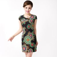 Wholesale Silk Mini Tunic Dress - 2017 Women dress sunmmer Casual Plus Size Slim Tunic Milk Silk print Floral dresses sexy bodycon sundress vestidos