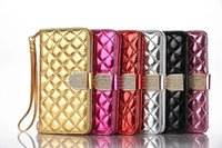Wholesale Iphone Luxury Sheep - Luxury Diamond Little Sheep Pattern Flip Leather Wallet Case with Card Slots Magnet for Iphone 5 6 7 7plus Samsung S6 S6 edge