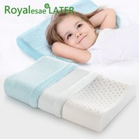 Wholesale royal bedding resale online - NEW ROYAL Brand Thailand Natural Latex Baby Pillow Healthy Sleeping Bedding Orthopedic Kids Neck Pillow latex