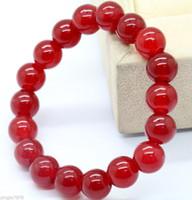 perles rondes de rubis achat en gros de-Bracelet de perles rondes naturelles en jade avec rubis rouges de 8 mm - 7.5 ''