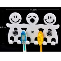 Vente en gros - Design mignon Smile Crocs d'aspiration 5 positions Kit pinceau dentaire Ensemble de toilettes Cartoon Sucker Brosse à dents Holder pour décoration à la maison