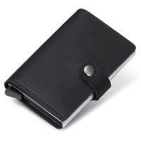 Wholesale Slim Leather Wallet Credit Card - 2017 New Genuine Leather Credit Card Holder RFID Blocking Slim Mini Wallet Men Aluminum Credit Card Case Wallet ID Holders