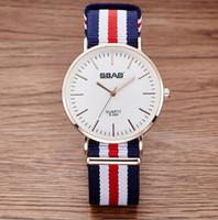 Wholesale Sbao Watches - SBAO Women Mens Watches Top Luxury Famous Brand Nylon Strap Ultra Thin Fashion Casual Quartz Wristwatches Montre Homme Reloj