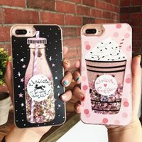 Wholesale Love Ice Cream - Carving process ice cream Glitter Dynamic Liquid Quicksand Love Heart Sequins Shockproof Phone Cases For iphone 7 7 Plus 6 6S Plus