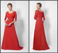 Wholesale Evening Dress Elegant Price - Evening Formal Dresses 2017 Long Sleeve Elegant Mother Dresses V Neck Applique Zipper Back Custom Made Long Gown Cheap Price Wonderful