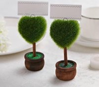 Wholesale love pots online - Creative simulation green round potted place card and love place card pastoral style small gifts wedding card