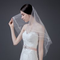 Wholesale Wedding Veils Free Delivery - 2017 short wedding veils with combs free delivery ribbon Bow tie Flowers wedding veils Two layers veil tulle wedding dress