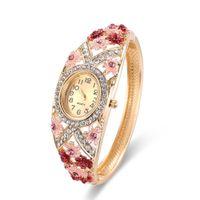 Wholesale Epoxy Bangle - 2017 Fashion Diamond Watches Epoxy Flower Design Floral Watches Alloy Bangle Band Luxury Watches For Ladies 61166053