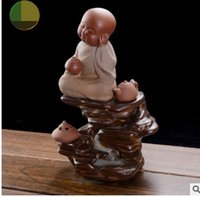 Wholesale Home Decoration Hand Ceramic - Cute little monk hand painted porcelain censer Ceramics crafts creative back Home Furnishing ornaments with 30 Incense cone Arts and Crafts