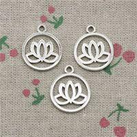 Wholesale Lotus Flower Bracelets - 84pcs Charms lotus flower 20mm Antique Silver Pendant Zinc Alloy Jewelry DIY Hand Made Bracelet Necklace Fitting