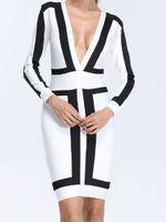 Wholesale Nice Bandage Dresses - clf10 2016 -2017 girl wamen nice High Quality Multi-color Deep V-neck Long Bandage Dress Women Dress