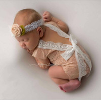 Wholesale Photo Girls Fashion - Fashion Newborn Baby Lace Romper Baby Girl Cute Summer petti Rompers Jumpsuits Infant Toddler Photo Clothing Soft Lace Bodysuits 0-3M KBR05