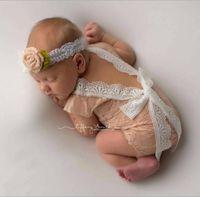 bebeğim yeni doğan fotoğraflar toptan satış-Moda Yenidoğan Bebek Dantel Romper Bebek Kız Sevimli Yaz petti Tulum Tulumlar Bebek Yürüyor Fotoğraf Giyim Yumuşak Dantel Bodysuits 0-3 M KBR05