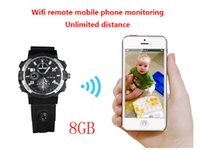 Wholesale Led Watch 8gb - 720P HD WIFI Watch Remote Monitoring Camera Watch Support LED floodlight Separate Voice-Recording IR Night Vision 8GB,Y32 watch spy camera