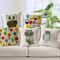 Wholesale Owl Linen Cushion - 1 Pcs Cotton Linen Square Design Throw Pillow Case Decorative Cushion Cover Pillowcase Lovely Owls Different Styles to Choose