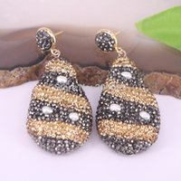 Barato Pequenos Brincos De Pérola E Rhinestone-3Pairs Fashion Earring Jewelry Pave Rhinestone Crystal e Pequenos Pearl Charm Gems Drop Earrings