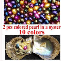 Wholesale Pac Blue - 10 PCS free shipping Love wish pearl oyster 6-8mm assorted color twins drop pearl in oyster with vacuum-pac