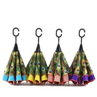 Wholesale Double Parasol Umbrella - 2017 Creative Inverted Umbrellas Double Layer With C Handle Inside Out Reverse Windproof Umbrella Free Shipping