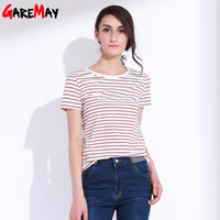 Wholesale Stripe Tees For Women - Female T-shirt With Stripes top tees Black T Shirt Women Red Striped Shirt Cotton Slim Basic Classic T Shirt For Women GAREMAY