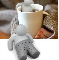 Hombres De Hierbas Baratos-Cool Man Tea Infuser Mr Silicone Loose Leaf Colador Herbal Spice Filter Difuser infusor de té Tea Strainer KKA3188