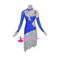 Wholesale Latin Dance Costume Silver - Latin Competition Dance Skirt Lady New Style Women Tango Samba Rumba Costume High Quality Custom Made Tassel Latin Dancing
