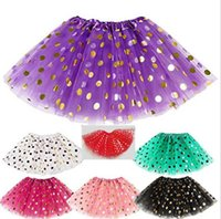 Wholesale girls pleated dance skirt - Girl Skirt Girls Lace Tutu Skirt Children Dance Skirt Sequins Dot Bronzing Printing Princess Skirts 9 Colors