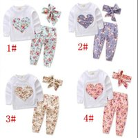 Wholesale Girls Heart Shape Outfit - Baby Clothes Girls Ins Floral Outfits Toddler Long Sleeve T Shirt Pants Headband Suits Infant Heart-Shaped Flowers Tops Pants Hairband