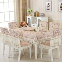 Hot Sale 9 Pieces / Set Tablecloth Cheap Lace Para Festa De Casamento, New Chegada Home Tabela De Linho Cloth Chair Cover Decoração Têxtil