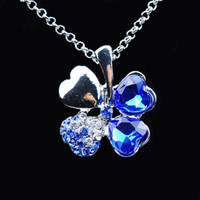 Wholesale Clover Leaf Necklaces - fashing jewelry free shipping charm women accessories Austrian Crystal lover 4 four Leaf Leaves Clover necklace pendant fashion jewelry