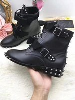 Wholesale Womens Mid Calf Buckle Boots - Fashion Brand Womens Martin Boot Winter Genuine leather Pari Ankle Motorcycle Rivet Wolf Square Heel Boots Big Size 35-42