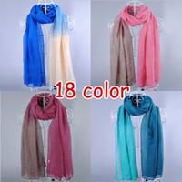 Wholesale Ombre Scarves - Wholesale-New design women's printe Ombre shade plain fashion shawls long cotton voile hijab head muslim scarves scarf 10pcs lot