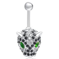 Wholesale Leopard Belly Button Rings - Cute Animal Body Belly Leopard Body Piercing Jewelry White Gold Plated Heart Zircon Cubic Bar Ball Navel Belly Button Ring BR-140