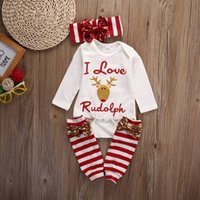 Wholesale Toddler Girl Romper Long Leg - New Baby Christmas Clothes Gift Rudolph Romper+Headband+Striped Sequin Leg Warmer 3Pcs Outfit Lovely Reindeer Kid Clothing 0-24M Toddler